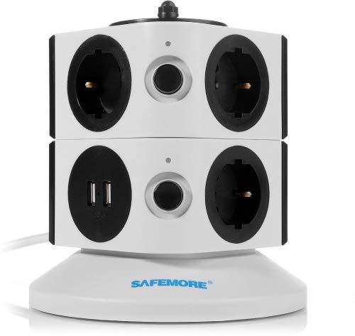Safemore Regleta de Enchufes Vertical de 7 Tomas Corrientes y 2 Rapida USB, Alargadora Cable de 1,8m...