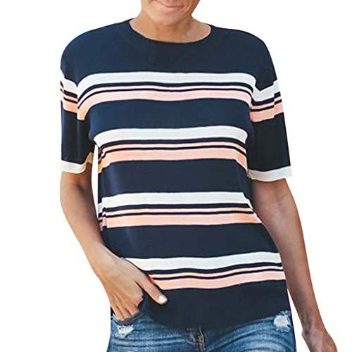 B-commerce Mode Stripe Short Sleeve - Frauen Casual Splice Farbe Oansatz Verliert T-Shirt Teenager täglich Basic Tops Bluse -