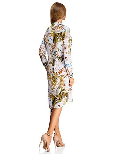 oodji Collection Femme Robe Boutonnée en Viscose Blanc (1019F)