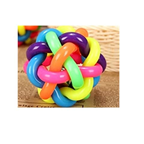 Spritech(TM) Pet Toy Woven Rainbow Color Rubber Bell Ball For Puppies Cats 2 Pack