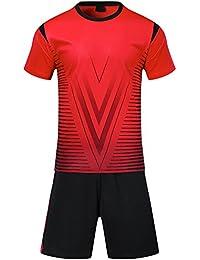 KINDOYO Traje de fútbol de los Hombres de Verano Ropa Deportiva Uniformes  Equipo de Entrenamiento de Manga Corta Trajes de Entrenamiento para… 4f9cb4dd4c5f