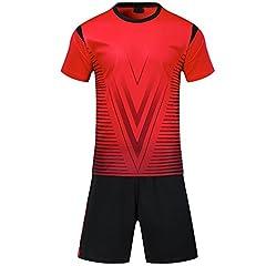 Idea Regalo - KINDOYO Tuta da calcio estiva da uomo, abbigliamento sportivo da allenamento, divise da allenamento per bambini, rosso, EU 2XS=Tag XS, bambino(135-145CM)
