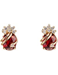 Yazilind Elegant 18K Gold Plated Cubic Zirconia Multicolor Stud Earrings for Women