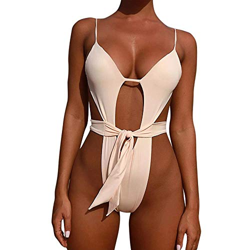 VJGOAL Mujer Verano Casaul Moda Color sólido Bikini Trajes de baño de una Pieza Atractivo Eslinga Hueco Push-Up Acolchado(Medium,Blanco)