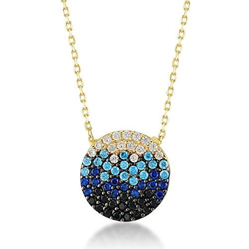 Damen Halskette 14 Karat/585 Gelbgold stille Ozean mit Zirkonia; die Farben des Ozeans als Anhänger   14k Gold Ocean Necklace