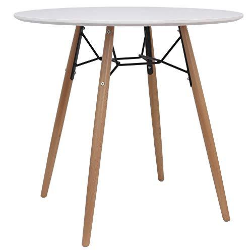 Meubletmoi Table Ronde Blanche Style scandinave 80 cm - Pied en Bois et métal - Lona