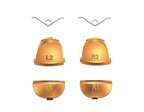 Supremery Playstation 4 Dualshock 4 Trigger Tasten Set aus Aluminium L1 L2 + R1 R2 Buttons Schultertasten Ersatzteile Zubehör für PS4 - Gold -