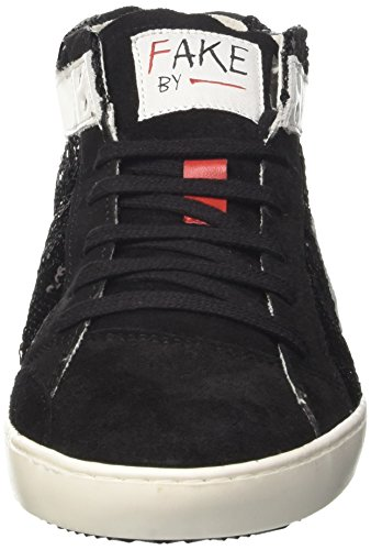 Fake By Chiodo Mid 076, Sneaker a Collo Alto Donna Nero (Txst Sh15031 Nero/Sidney Soft White)