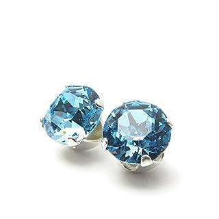 pewterhooter 925er Sterling Silber Ohrstecker handgefertigt mit Aquamarine Blau Kristall aus SWAROVSKI®. London Geschenkbox.
