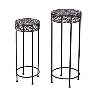 Adeco Potted Plant Stand Floor Flower Pot Rack - Round Iron Plant Stand - Set of 2