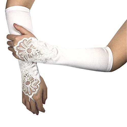 PANAX Edle Damen Handschuhe aus elastischem Satin mit Spitze und Perlen - Stulpen Weiß in Einheitsgröße für Frauen, Hochzeit, Oper, Ball, Fasching, Karneval, Tanzen, Halloween ()