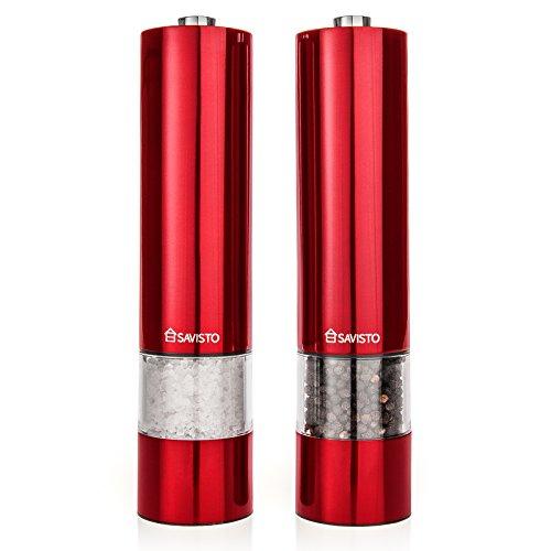 Savisto Leuchtendes Elektronisches Rot Salz & Pfeffer Mühlen Set (Paar)