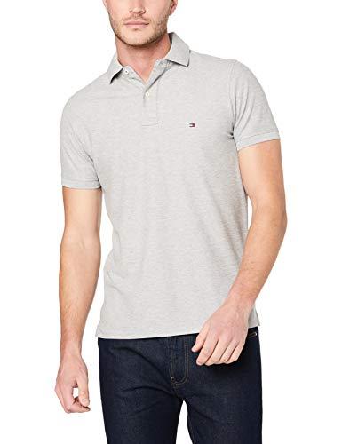 Tommy Hilfiger Herren CORE Hilfiger Slim Polo Poloshirt, Grau (Cloud Htr 501), Large (Herstellergröße: LG)