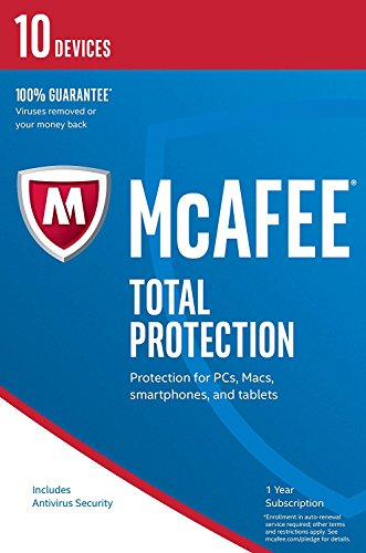 McAfee Total Protection - Software Edition 2018 von der Herstellerseite | 10 Geräte | 1 Jahr | mit den neusten Updates FFP(Frustfreie Verpackung)