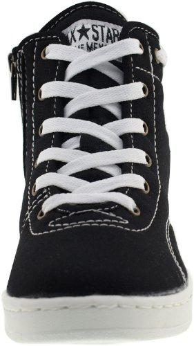 Maxstar 020 Toile top High Particulièrement Baskets Chaussures Semelle intérieure à fermeture Éclair Noir - noir