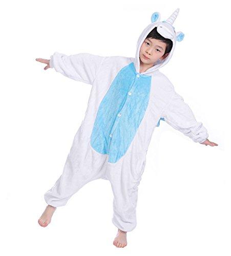 Kigurumi Pyjamas, Kinder Pyjamas Tier Einhorn Jumpsuit Nachtwäsche Unisex Cosplay Kostüm für Mädchen und Jungen Kinder cosplay Halloween (XXL:Height(51.2inch-55.1nch / 130cm-140cm), Weißes Einhorn)