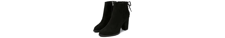 KHSKX-Sharp Talon Heel Shoes Hembra Martin Botas Tubo Corto Botas Primavera E Invierno Botas De Gamuza Negro Único... -