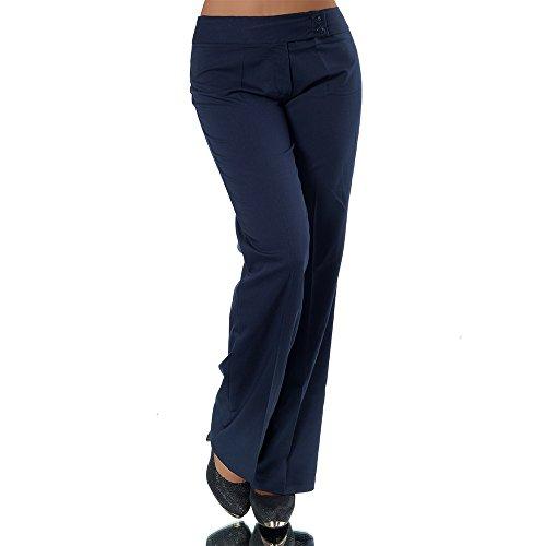 H326 Damen Business Stoffhose Elegante Bootcut Hose Classic Schlaghose Schlag, Farben:Dunkelblau;Größen:42 XL (Etikett T5)