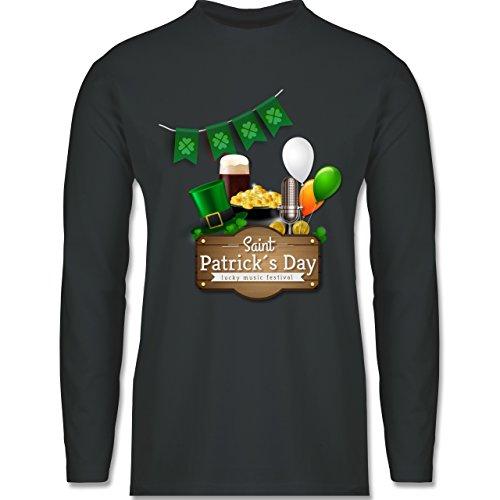 Shirtracer Festival - Saint Patrick's Day Happy Music Festival - Herren Langarmshirt Dunkelgrau