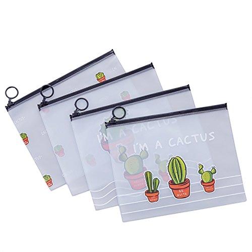 4x Chytaii Pochette Porte-documents Trousse Sac Sachet de Rangement Papier/Facture / Billet Transparent en Plastique Dessiné Motifs de Cactus