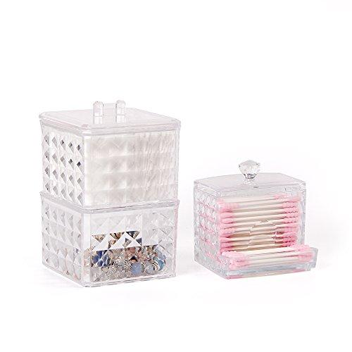 WELTRXE Wattepads Halter/ Schmuckkästchen Make-up Box v Kosmetik Halter Organizer Schmuck Box & Wattestäbchen Behälter Q-Tips Aufbewahrung Organizer Aufbewahrungsbox für Wattestäbchen Make up