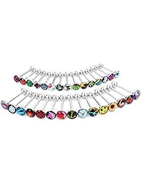 Piercing-Schmuck mit Bildchen, Barbell, Zungenpiercing, 30Piercingteile, 1,6mm