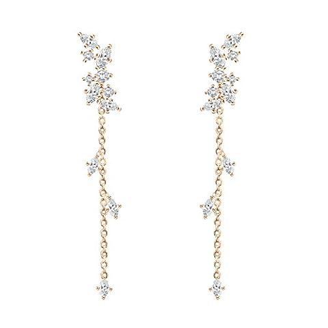 QUKE Mode Gold-Ton Zirkonia Strass Kristall Baumeln hängend Ohrringe Damen
