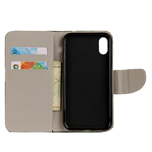 KM-WEN® Schutzhülle für Apple iPhone X (5,8 Zoll) Bookstyle Farbmalerei Series Magnetverschluss PU Leder Wallet Case Flip Cover Hülle Tasche Schutzhülle mit Standfunktion Kartenfächer für Apple iPhone Farbe-18