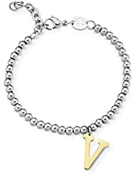 Armband mit Anhänger V - Buchstabe / Namen. Luca Barra Namenskette BK1294