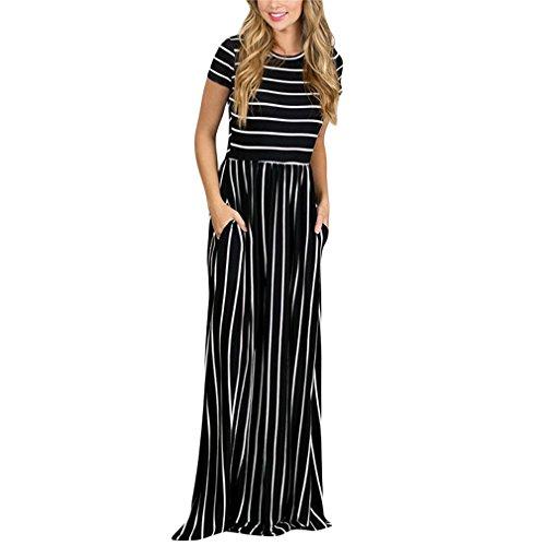 Kleid der Frau Kleider der Frauen Streifen-Kurzschluss-Hülsen-Rundhals-beiläufiges Langes Kleid 2018 Neuer Frühling und Herbst Canonicals (Color : Black, Größe : M)