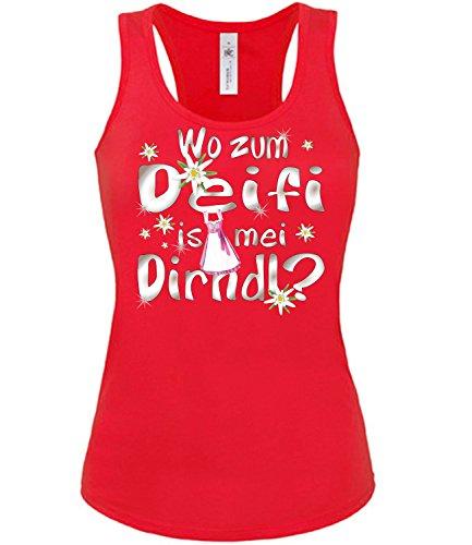 love-all-my-shirts Wo zum deifi is MEI Dirnd 1280 Oktoberfest Outfit Artikel Kostüm Tshirt verkleidung Wiesn Frauen Damen Tank Top Rot M (Frauen Für Outfits Lustige)