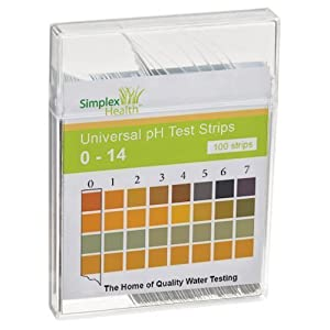 SimplexHealth Wasser pH Teststreifen von 0 - 14 (100 Stück) Säure Basen Teststreifen