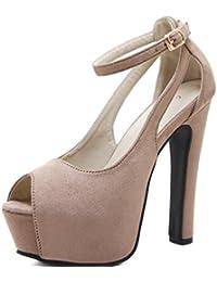 LINYI Mujer Stiletto Heels Shoes Sandalias De Plataforma Moda Open-Toe Hebilla Zapatos Verano Negro Beige