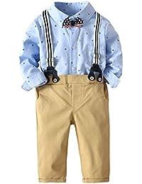 Happy Cherry - 4 pcs Ropa de Bebés para Fiesta Boda Bautismo Camiseta de Mono Pantalones Largos de Vestir con Tirantes Formado Y Pajarita Pequeña