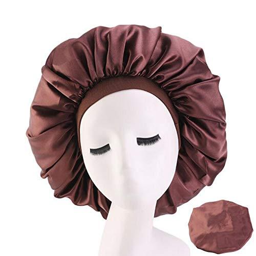 TBSHLT 3 PCS Satin Schlafhaube Elastisch Breites Band-Hut Nachtschlaf Kopfbedeckung zum Schlafzubehör,Kaffee -