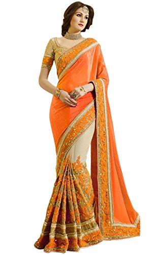 Nivah Fashion Women's Satin & Net Half & Half Embroidery work With...