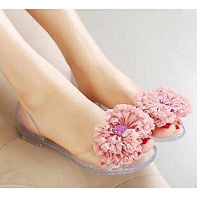 Rtry Femmes Sandales Jelly Pvc Chaussures Décontractées Translucide Bleu Talon Blushing Rose Us8 / Eu39 / Uk6 / Cn39