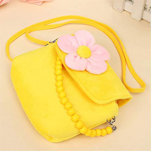 Monbedos moda floreale borsetta bambini borse a tracolla borsa per scuola materna delle bambine neonati e bambini. (6 colori), Yellow, 14 x 12 x 4 cm