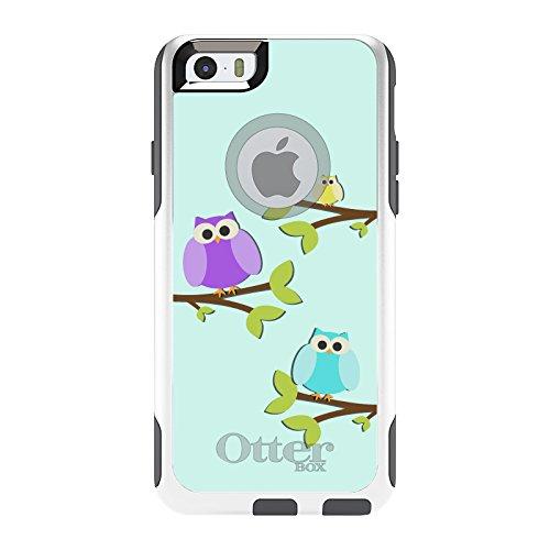 DistinctInk Fall für iPhone 6 / 6S (Not Plus) Otterbox Commuter Blau, Lila, Gelb Eulen auf weiß Fall - Blau Iphone Otterbox-fälle 6