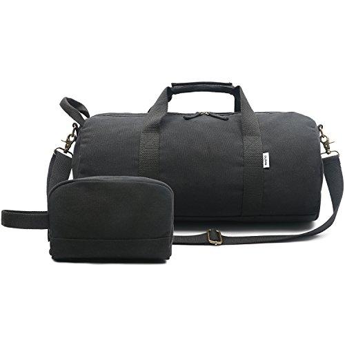 Oflamn Kleine Reisetasche für Männer und Damen - Sporttasche Segeltuch Trainingstasche - Travel Duffel Bag & Sports Gym Bag (1.0 schwarz)