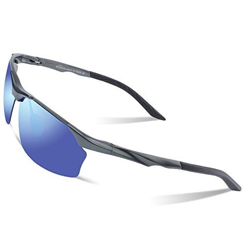 DUCO Polarisierte Sonnenbrille Herren für Radfahren Angeln Golf Unzerbrechlich 8513S Gunmetal Rahmen Blau verspiegelt Linse