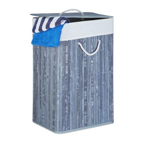Relaxdays cesto porta-biancheria rettangolare, pieghevole, bambù, grigio, hxlxp: 65,5 x 43,5 x 33,5 cm, 83 l