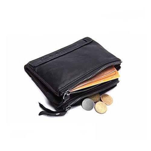 Sansee Herren weiche Leder Brieftasche, Herren Geldbörse Leder kurze Geldbörse Geldbörse verrückte Pferd Leder doppelte Reißverschluss Brieftasche (Schwarz) (Rindleder-leder-tasche Kurze)