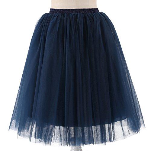 NUOMIQI Hochzeitsplanung Frauen eine Linie kurze Knie-Länge Tutu Tulle Prom Party Rock Navy Blau