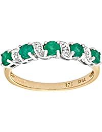 Naava Women's 9 ct Yellow Gold Diamond and Emerald Eternity Ring