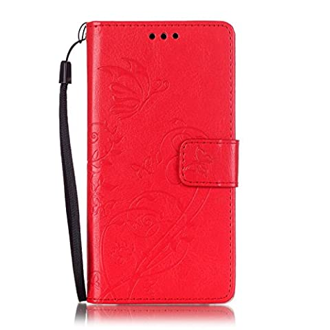 LG C90 Magna H520N Case , LG C90 Magna H520N Cover , Cozy Hut Elegant Luxury Flip PU Leather Slim Wallet Card Magnetic Closure Lanyard Wallet Protective Case Cover With [Butterfly & Flower Embossing Series] Shockproof Card Slots Holder Money Pouch Stand Function Book Design for LG C90 Magna H520N - Red