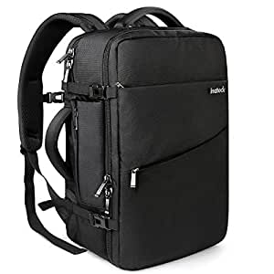 Inateck Travel Carry On Luggage Backpack, Fit 17'' Laptop, Anti-theft Business Rucksack Flight Approved Bag with Rain Cover for Men and Women - Black