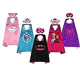 SAYOMOK Disfraces de superhéroes infantiles-Regalos de cumpleaños - Disfraces de carnaval Capas y máscaras Juguetes para niños y niñas-Capas 5 y Máscaras 5