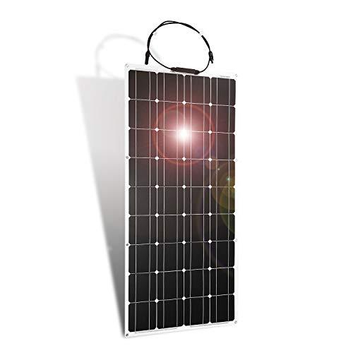 Dokio Potente y multiusos flexible panel solar 100 W    (1) Flexible y cómodo.    Puede ser curvado a un máximo de 30 grados de arco, lo que lo hace ideal para el almacenamiento en espacios reducidos o zonas abarrotadas. Este panel solar contiene ...