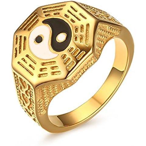 Vnox Vintage uomo in acciaio inossidabile placcato oro 18k Yin Yang Signet Ring per Taoismo (10k Religiosi Anello)